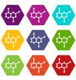molecule icon set color hexahedron vector image vector image