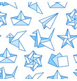 origami seamless pattern with flat line icons vector image vector image