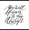 romantic isolated inscription on white back for vector image vector image
