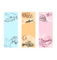 seafood fish corals and seashells banner vector image vector image
