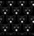 seamless pattern bear head white on black vector image
