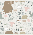 seamless pattern with cute animals in autumn vector image vector image