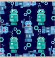 seamless pattern with cute robots vector image vector image