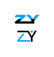 set of initial letter zy logo template design vector image