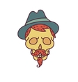 Skull with Hipster hairmustachehat and beards vector image