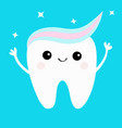 tooth with toothpaste hair hands up shining stars vector image vector image
