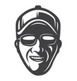 vintage monochrome smiling fisherman face concept vector image vector image