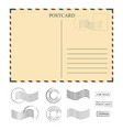 vintage postcard with stamps template set of vector image