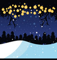 winter landscape with light bulbs scene christmas vector image