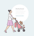 woman walks down street with baby in stroller vector image