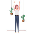 woman with houseplant and macrame hangers vector image vector image