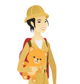 young asian woman traveling with teddy bear vector image vector image