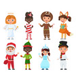 set of kids in christmas costumes vector image