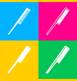 comb sign four styles of icon on four color vector image