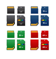 Set of flash cards differet capacity vector image