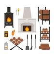 cartoon fireplace icons set vector image