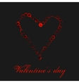 Watercolor red heart isolated on black background vector image