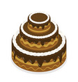 3d isometric flat concept chocolate cake vector image