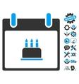 Birthday Cake Calendar Day Icon With Bonus vector image vector image