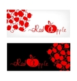 Black and white banner with red apple design vector image
