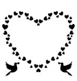 black and white vintage heart shaped border of vector image