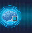 brain with microchip vector image