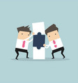 businessmen with puzzle box business and partners vector image