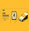 car sharing service isometric landing page app vector image vector image