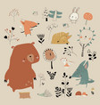 cartoon cute animals meeting autumn in forest vector image