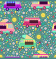 cartoon ice cream trucks seamless pattern vector image