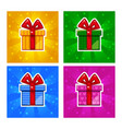 Cartoon multi-colored gift box icons