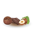 chocolate candy ball with hazelnuts vector image vector image