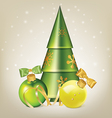 Christmas balls with bows serpentine and tree vector image