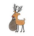 color crayon stripe cartoon of funny reindeer with vector image vector image