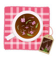 cup with tea fireweed flowers on a napkin view vector image vector image