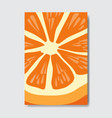 cut orange template card slice fresh fruit poster vector image