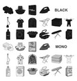 dry cleaning equipment black icons in set vector image