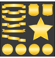 Golden Ribbons Shields Stars and Badges vector image
