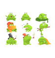 green frog funny character set of different vector image vector image