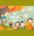 happy cartoon children harvesting in autumn garden vector image vector image