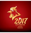 Happy Chinese new year 2017 with golden rooster vector image vector image