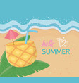 hello summer poster with beach scene and pineapple vector image vector image