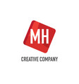 initial letter mh logo template design vector image vector image