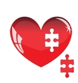 Jigsaw puzzle in the shape of a red heart vector image