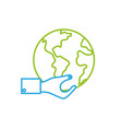 line man hand with global earth planet vector image vector image