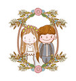 man and woman wedding in the frame with flowers vector image vector image