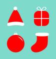 merry christmas ball gift box santa claus hat vector image