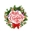 merry christmas fir wreath and cookies vector image vector image