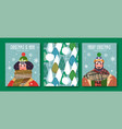 merry year winter scarf people cards vector image
