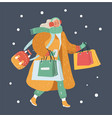 modern winter woman with shopping bags vector image vector image